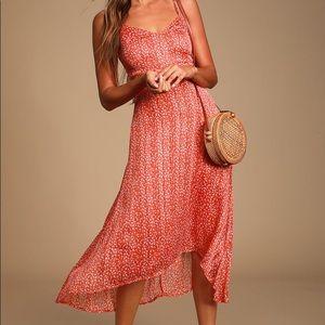 Lulus Dreams of Love Orange Hi Low Midi Dress S